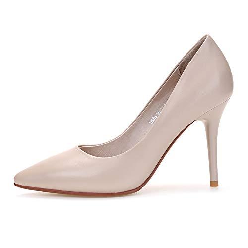 PINGXIANNV Damenschuhe Einzelne Schuhe Kleine Stiletto Heels Spitzen Flachen Mund Frauenschuhe