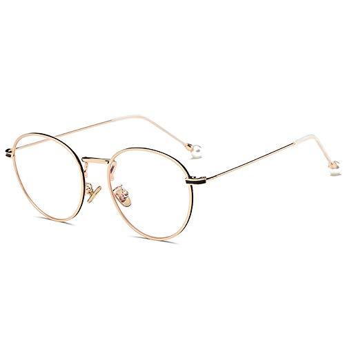 AdorabFrames Brillengestell Brillengestell Mode Brillenglas Literatur Perle flacher Spiegel Retro Trend Gestellspiegel Unisexueller goldener Rahmen