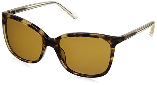 Kate Spade Women's Kasie/P/S Polarized Square Sunglasses, Havana Honey/Brown, 55 mm