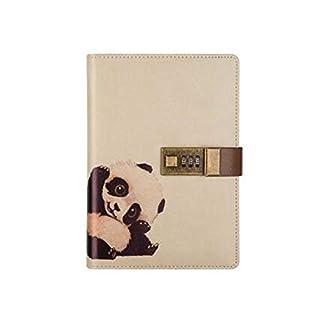 Cuzit: Geheimes Tagebuch für Kinder, mit Panda-Motiv, Notizbuch mit Schloss, PU-Lederumschlag