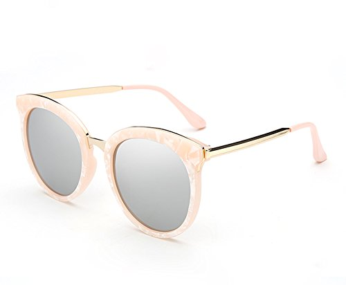 Unbekannt XUEP Sonnenbrillen Sonnenbrille Brille Tide Shell Pink Reflektierende runde Sonnenbrille Driving Glasses Sun Mirror Outdoor (Color : Shell Powder Mercury Film)