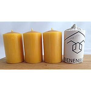 4 Stück Kerzen, 10 x 6 cm, Stumpenform, aus 100% Bienenwachs, handgemacht, gegossen, mit langer Brenndauer…