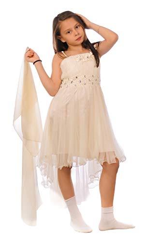Miss Aylan Festliches Mädchen Kleid mit Stola Strass Perlen Blumen Prinzessinnenkleid M534cr Creme 128 -