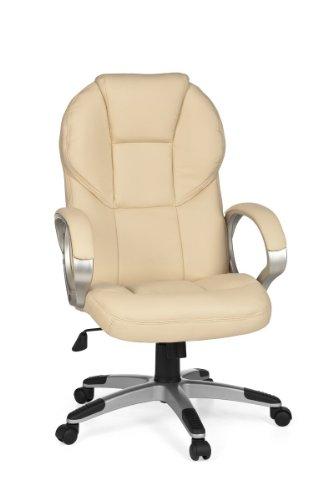 FineBuy Bürostuhl Mark Bezug Kunstleder Beige Schreibtischstuhl Design X-XL 120kg Chefsessel Wippfunktion ergonomisch Polster Drehstuhl hohe Rücken-Lehne höhenverstellbar