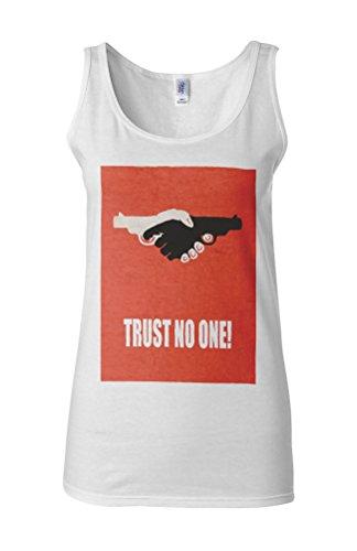 Trust No One Gun Hand Novelty White Femme Women Tricot de Corps Tank Top Vest **Blanc