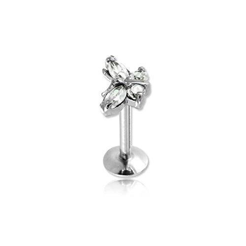 Micro Labret acero tornillo interno mariposa de cristal–junco eje 1.2mm, largo: Int. 8mm, elemento 8.4mm