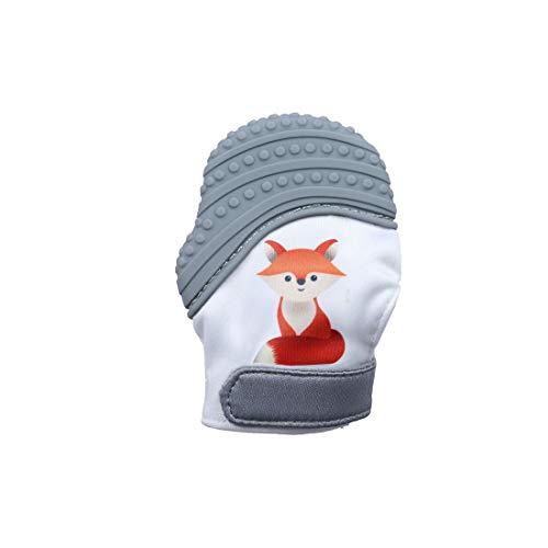 VIVOSUN Baby 1er Zahnen Handschuhe Schmerzlinderung Fäustling BPA Frei Silikon Zähne Beißring Zahnungshilfe für Neugeborenen Fuchs Grau