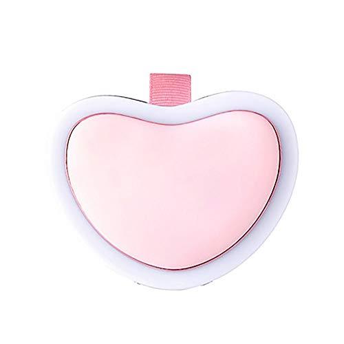 Kira specchio per trucco compatto a led specchio tascabile illuminato specchio a forma di cuore può essere usato come scalda mani, potere mobile uso di ricarica usb adatto per borse