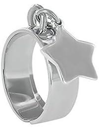 98cf6736c0f1e Emotional Bague Argent avec Pendentif personnalisé – Bague 925 Femme avec  Grande médaille étoile Custom –