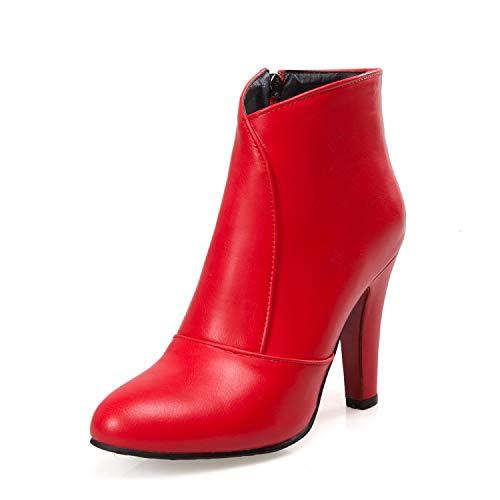 andalen Winterstiefel Neue Runde Kappe Schnalle Stiefel Für Frauen Ankle Heels Fashion Herbst Winter Schuhe Casual Zip Snow 622-5 10 Rot ()