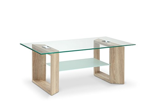 MORE DESIGN Table Basse Effet Chêne Transparent, 110 x 45 x 60 cm