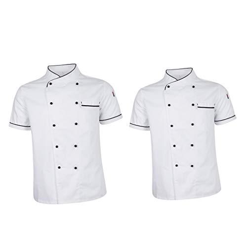 Baoblaze 2 Stücke Unisex Kochjacke Bäckerjacke Sommer Kurzarm Küche Hotel Kochkleidung Uniform Berufsbekleidung mit Knöpfen M/L