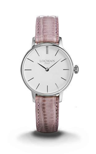 Locman 1960/montre Femme/Cadran Blanc/Caisse Acier/Bracelet Cuir Rose/Ref. 0253a08a-00whnkpp