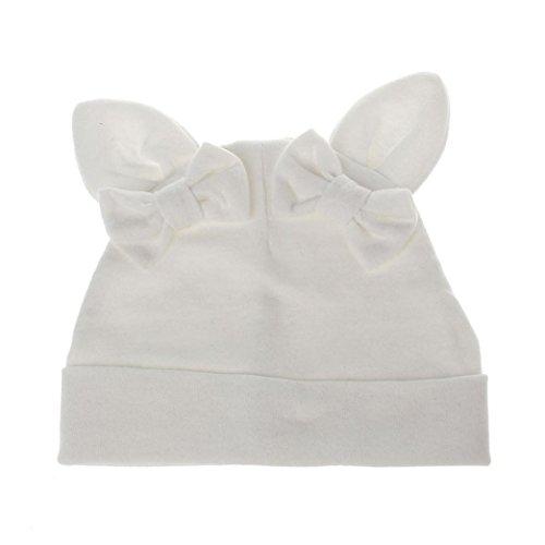 Fuibo Nette Baby Mädchen Jungen Kaninchen Cartoon Kleinkinder Baumwolle Schlafmütze Headwear Hut (Weiß) (Cartoon-handschuhe Weiß)