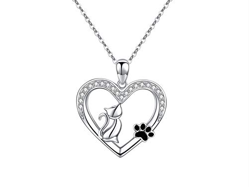 Damen Kette Pfote Hund Katze Anhänger Halskette Echt 925 Sterling Silber Herz Pfotenabdrücke Valentinstag Geschenk für Frauen (Katze-Pfote)