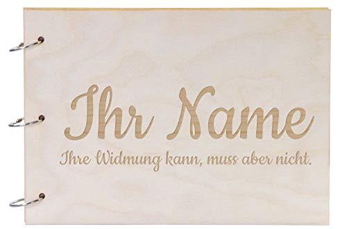 LAUBLUST Fotoalbum & Gästebuch aus Holz - Personalisiert mit Individueller Wunsch-Gravur - Weiße Seiten, A4 Format