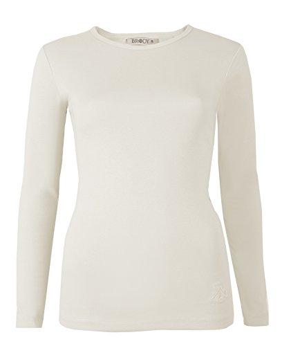 Brody & Co, Maglia da donna, a maniche lunghe, tinta unita, elasticizzata, girocollo, in cotone di alta qualità Cream