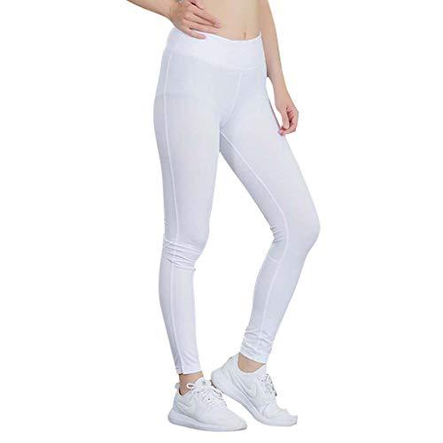LInkay Hose Damen Fitness Reflektierender Streifen Yoga-Hose Nachtlauf Schnell Trocknend Strumpfhose Mode 2019 (Weiß, X-Large)