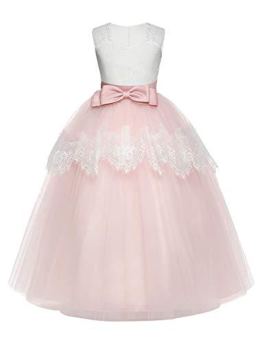 besbomig Mädchen Spitze Bowknot Ärmellos Prinzessin Kleider Partei Prom Ballkleid - Formale Hochzeit Festzug Blumenmädchenkleid Abendkleid