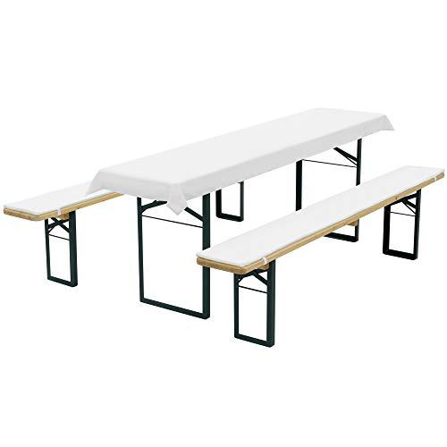 SunDeluxe Bierbankauflagen Set Weiß - Tischdecke für 70cm Tisch und 2 Bankauflagen 220x25cm gepolstert - Auflagen Set für alle gängigen Bierzeltgarnituren
