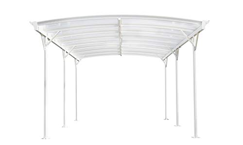 Home Deluxe - Design Carport weiß - Falo - Maße: 505 x 300 x 226/240 cm - komplett inkl. Montagematerial