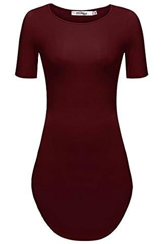 Meaneor Damen Lang Tunika Kurzarm Kleid Longshirt Herbst Bluse Sexy Minikleid O-Ausschnitt Stretch T-Shirt, Weinrot, EU 36(Herstellergröße: