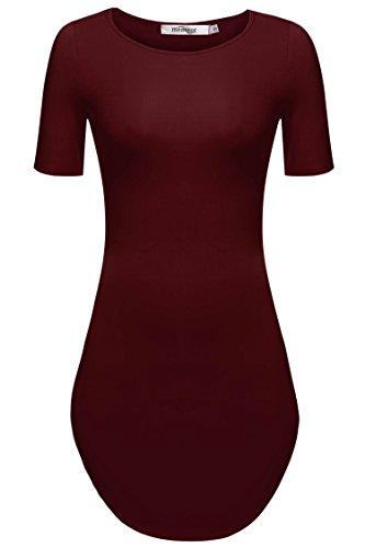 Meaneor Damen Lang Tunika Kurzarm Kleid Longshirt Herbst Bluse Sexy Minikleid O-Ausschnitt Stretch T-Shirt, Weinrot, EU 40(Herstellergröße: L)