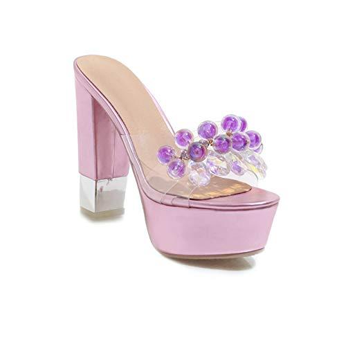 MENGLTX High Heels Sandalen Damenmode Pumps Elegante Super High Heels Hochzeit Nachtclub Sommer Sandalen Platfrom Stil String Perlen Schuhe Frau 12 Rosa