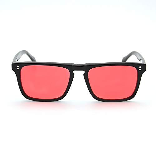LKVNHP Neue Hochwertige Robert Downey Sonnenbrille Für Rote Linsen Mode Retro Männer Sonnenbrille Markendesigner Acetat Rahmen BrillenRot