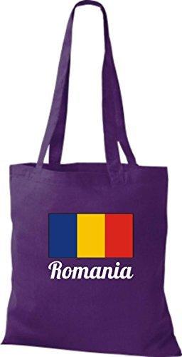 ShirtInStyle Sac en tissu Sac en coton Jute de pays Roumanie Roumanie - Jaune, 38 cm x 42 cm mauve
