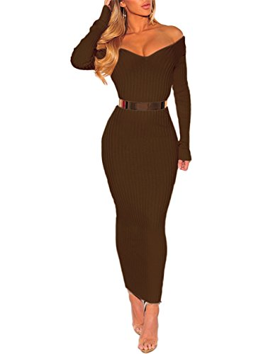 Boutiquefeel Damen Schulterfreies Ribbed Langarm Bodycon Maxi Kleid Coffee S