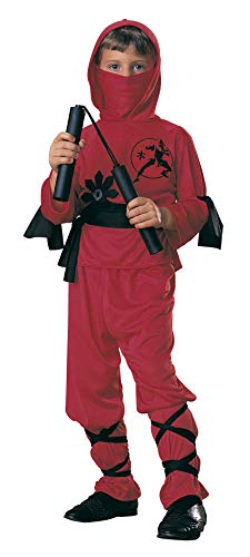 Rubie's - Disfraz de ninja para niños, color rojo, 3-4 años (12110-S)