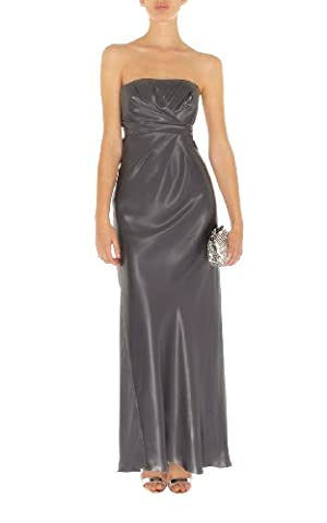 Karen Millen–Satin Gris étain Maxi robe de bal robe de dn210 - gris - 38