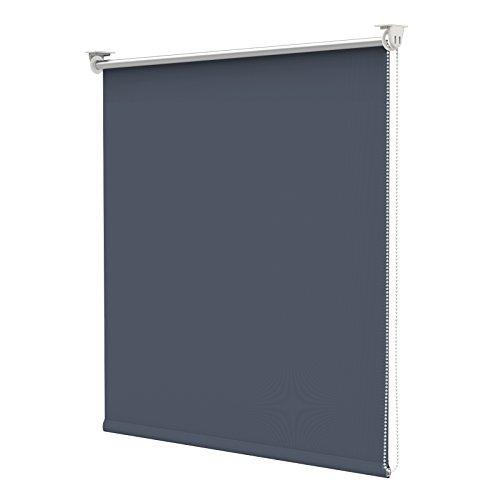 Estor opaco térmico para oscurecimiento con pinza sin taladrar para ventana - 90 x 170 cm - azul