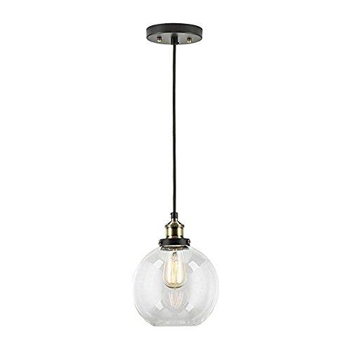 ZYF Lighting E27 Kreative Vintage Industrielle Metall-Finish Klarglas Ball Runde Schatten Loft Pendelleuchte Glas Pendelleuchte Retro Deckenleuchte Vintage-Lampe Ac220v-240V (Klarglas-finish)