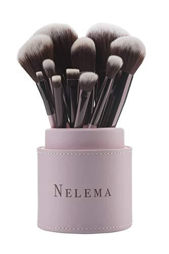 Professionelles 11-tlg Make Up Pinselset von Nelema Schminkpinsel Kosmetikpinsel für Lidschatten Lippen,Rouge, Konturen, Abdeckung, Puder Pinsel Halter Box
