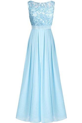 estliche Kleider Brautjungfer Hochzeit Cocktailkleid Chiffon Faltenrock Elegant Langes Abendkleid Himmelblau 40 (Herstellergröße:10) ()
