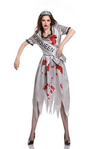 Sijux Erwachsene Frauen Halloween Ghost Braut Uniform Zeremonielle Kleid Tod Blutige Hölle Göttin Bühnenkostüm,Gray,L