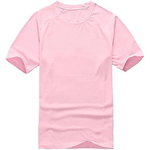 Camiseta Regular Fit con Cuello Redondo de Manga Corta para Hombre y Mujer Rosa Claro XS