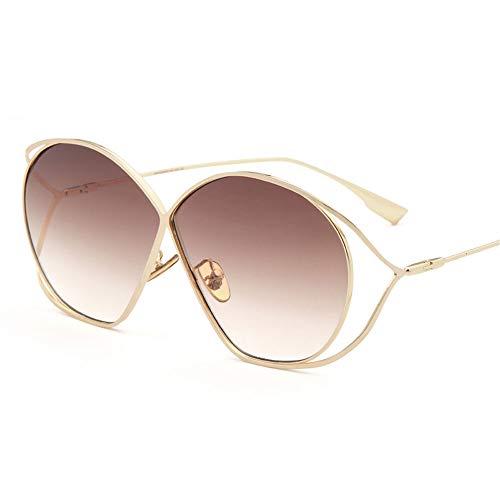 ZCF Hohle Sonnenbrille weibliche Flut farbige Brille Retro große Box Sonnenbrille quadratischen Gesicht war dünn (Farbe : Braun)