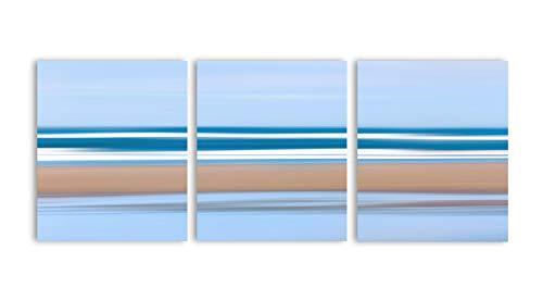 Canvas Print Canvas Art Wrap Three Panel Triptych Abstract Beach Art Pacific Ocean Sea Stripes Artwork Oversized Panoramic Coastal Blue Beige Bedroom Bathroom Decoration Wall Art Wall Decor(Set of 3) - Ocean Beach Stripe