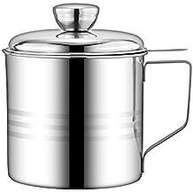 Haosens 1200ml Filtro Aceite Cocina Acero Inoxidable, Graseras de Cocina con Malla Fina Colador y
