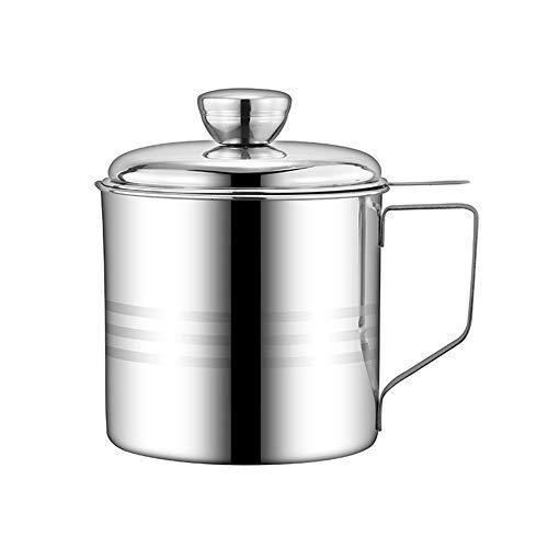 Haosens 1200ml Edelstahl-Fettfilter Ölbehälter,Öl Sieb Topf lebensmittelkontakt Fett Behälter,geeignet für Aufbewahrung von Braten und Kochen Öl, Fett - 304 Edelstahl, EIN guter Helfer in der Küche - Edelstahl Fett-filter