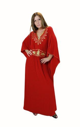 Damen Kaftan im Oriental Style, Einheitsgröße 4XL bis 5XL, rot