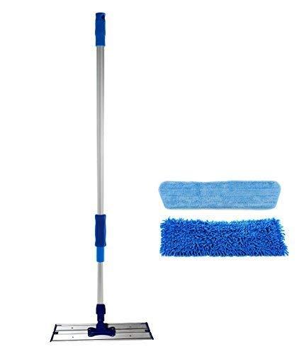 Real Clean Balai à Franges en Microfibre de Domestique et Professionnelle avec Deux 40,6cm Premium en Microfibre pour Mop et Balai Cadre Aluminium et Poignée