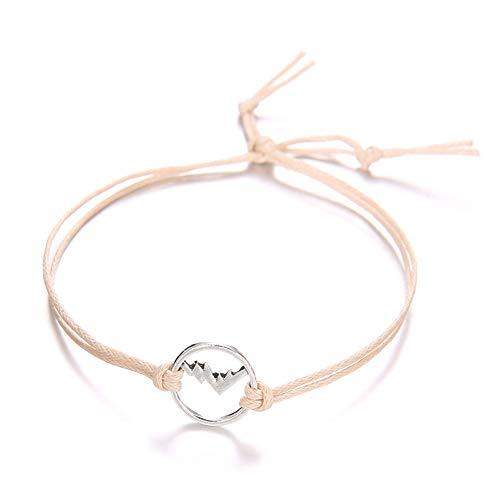 xinMarJ böhmische Vintage gewebt bunten Berg Charme Charm Set weibliche Seil Kette Armband 4 Stück Set, Rose Gold (Rose Gold Für Seil-kette Männer)
