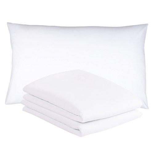 Duractron - 2 Fundas de microfibra hipoalergénica para almohada, tamaño Queen 50 x75 cm, blancas...