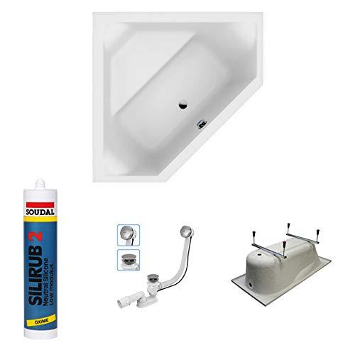 eckwanne 140x140 bestshop24.eu Exclusive LINE North Bath DOCCIA Rechteckbadewanne Acryl 140x140 cm mit TOP Ablaufgarnitur Hochwertiger Sanitäracryl