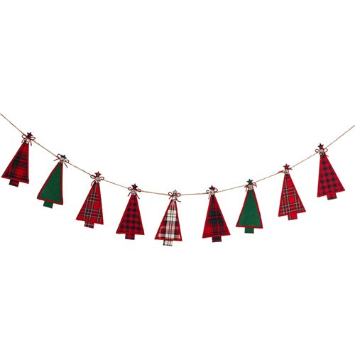 Evergreen Fall Urlaub Décor Banner Plaid Christmas Trees Seasonal (Weihnachten Mantel Deko-ideen)