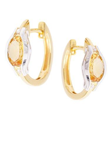 MyGold Citrin Creolen Ohrringe Gelbgold Weißgold 333 Gold (8 Karat) Mit Edelstein 15mm x 15mm Glanz Goldohrringe Goldcreolen Damenohrringe Geschenke Für Frauen Athene V0011660